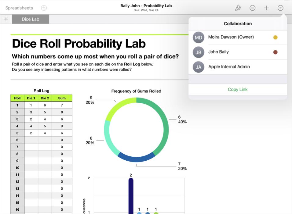 """学生协作文件示例""""Baily John - 概率实验"""",其中显示了 iWork Numbers 表格 App 协作详情。"""