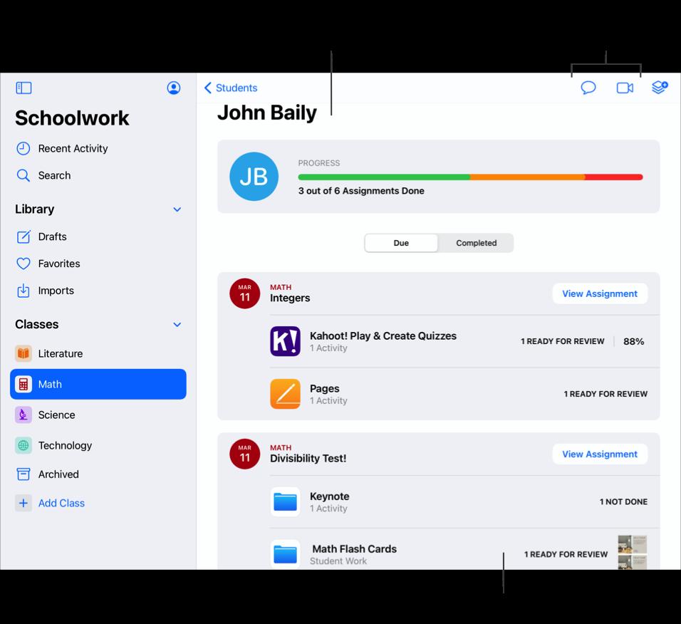 學生進度檢視畫面範例,顯示學生 John Baily 已提交六份作業中的三份。使用學生進度檢視畫面可查看個別學生在所有作業方面的表現,並判斷他們是否需要額外的挑戰或關注。點一下「訊息」或 FaceTime 按鈕可傳送訊息給或撥打 FaceTime 通話給學生。您也可以點一下作業來檢視作業活動詳細資訊。