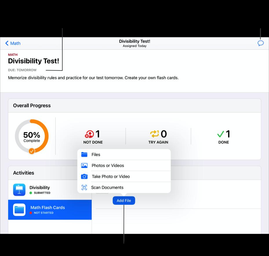 Et eksempel på en opgave – Divisibility Test! – for matematik med to aktiviteter til venstre. Afleveringsopgaven Matematik flash-kort er valgt. Hvis du vil indsende din aflevering, tryk på Tilføj arkiv, og  vælg derefter typen af arbejde, du vil indsende. Øverst i vinduet viser Skolearbejde den dato, opgaveaktiviteterne skal afleveres. Hvis datoen er overskredet, angiver Skolearbejde, at arbejdet blev afleveret for sent. Tryk på knappen Beskeder for at sende en besked til din lærer.