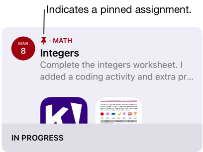 A sample of a pinned assignment (Integers).