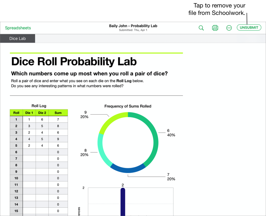 A sample of a student's collaborative file, Baily John - Probability Lab, ready to unsubmit from Schoolwork using the iWork Numbers app. To unsubmit the document, tap Unsubmit in the upper right of the window.