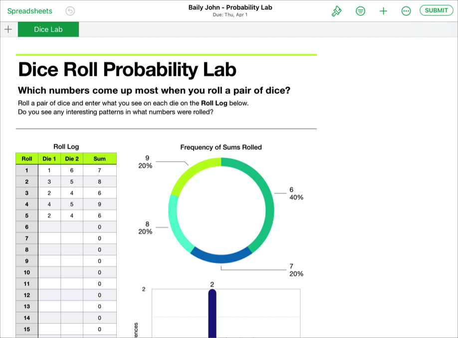 A sample of a student's collaborative file, Baily John - Probability Lab, ready to submit to Schoolwork from the iWork Numbers app.