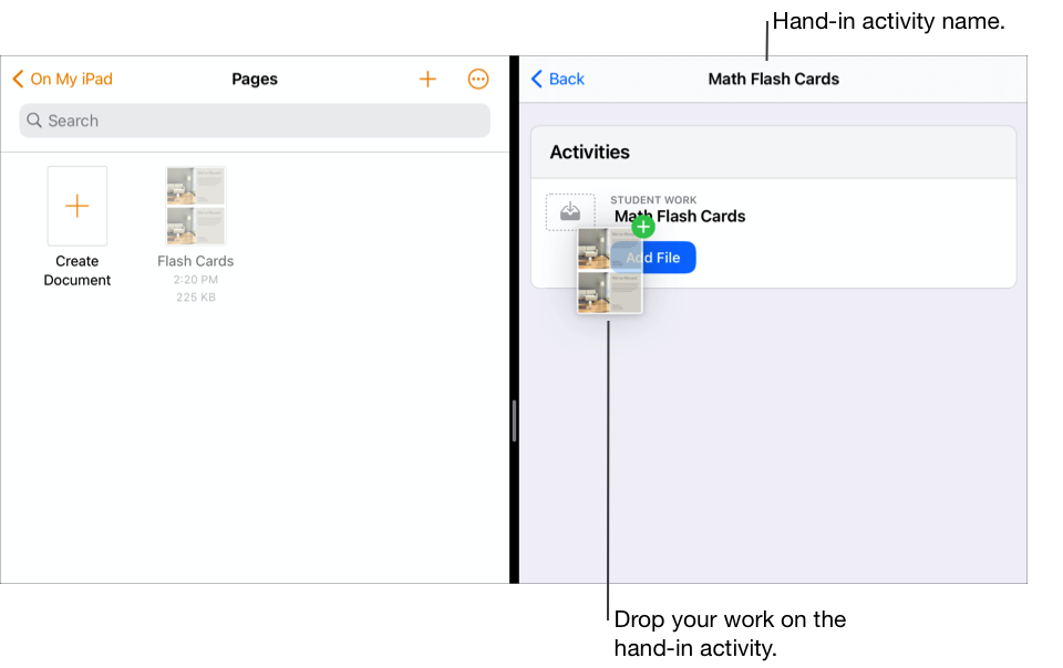 Split View showing the Files app on the left with one document and Schoolwork on the right with the Math Flash Cards assignment open.