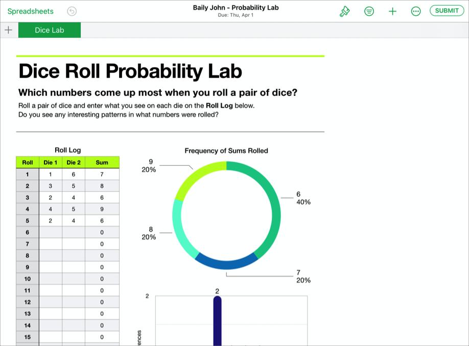 """Un ejemplo de archivo de colaboración de un estudiante """"Baily John - Probability Lab"""" (Lab. Probabilidad), listo para entregarse en TareasdeClase desde la app Numbers de iWork."""