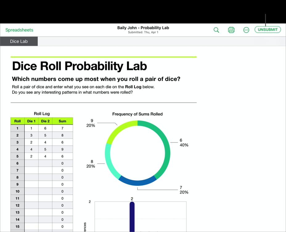Példa egy tanuló által az iWork Numbers alkalmazásban készített kollaborációs fájlra – Baily John - Probability Lab –, amely készen áll a Leckefüzetbe való beküldés visszavonására. Ha vissza szeretné vonni a dokumentumleadást, koppintson a Beküldés visszavonása gombra az ablak jobb felső sarkában.