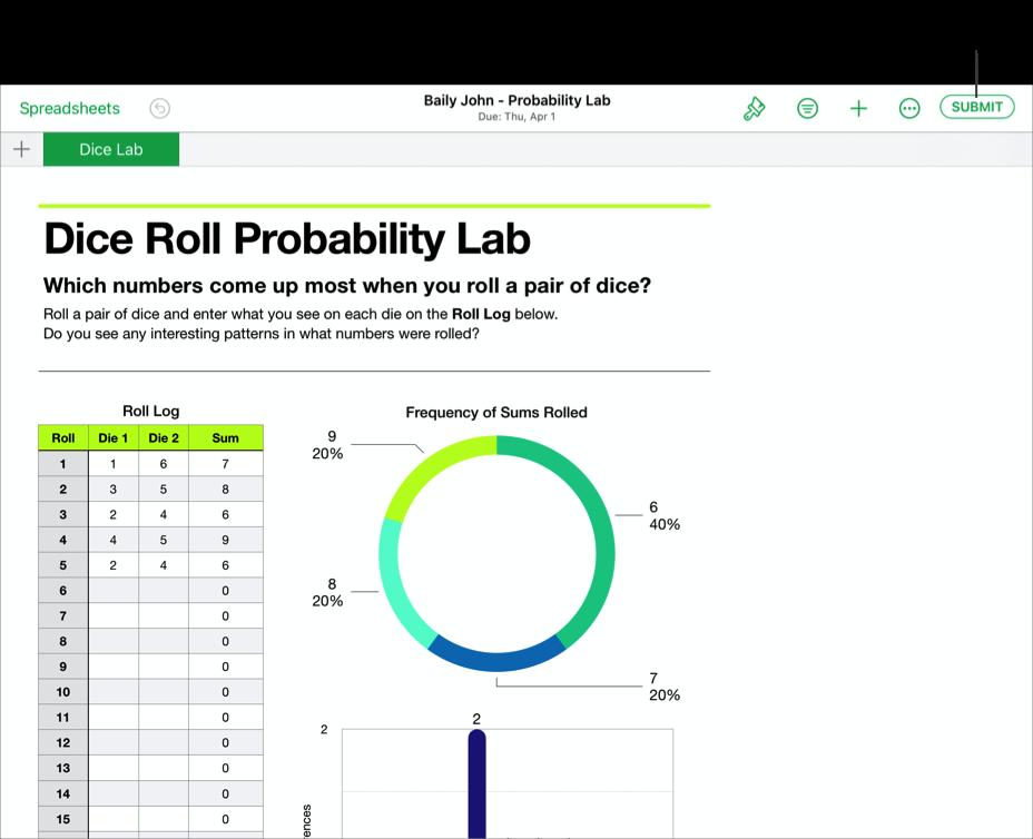 Et eksempel på en elevs samarbeidsfil – Baily John – Probability Lab – som er klar for levering til Skolearbeid med iWork Numbers-appen. For å sende inn dokumentet trykker du på Send inn øverst til høyre i vinduet.