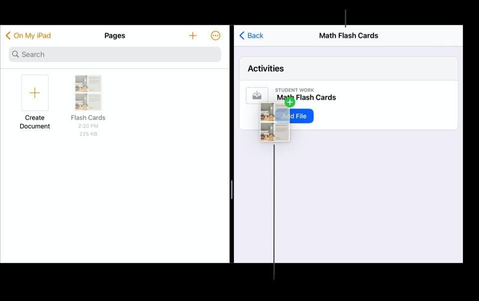 SplitView som viser Filer-appen på venstre side med et dokument og Skolearbeid på høyre side med Math Flash Cards-oppgaven åpen.