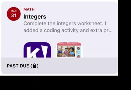 已鎖定的習作範例(「Integers」)。