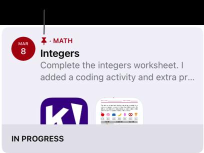 已釘選的作業範例(「Integers」)。