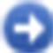 Blauwe cirkel met pijl