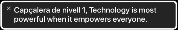 El tauler de subtítols descriptius mostra allò que està llegint VoiceOver en un moment determinat.