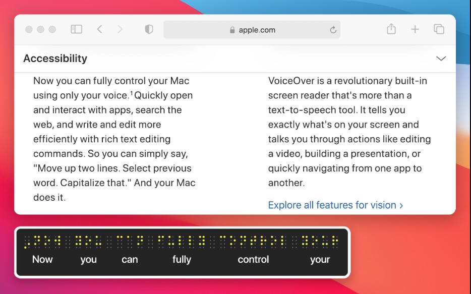 Braillský panel zobrazující obsah kurzoru VoiceOveru na webové stránce Braillský panel zobrazuje simulované žluté body Braillova písma; pod nimi se zobrazuje odpovídající text