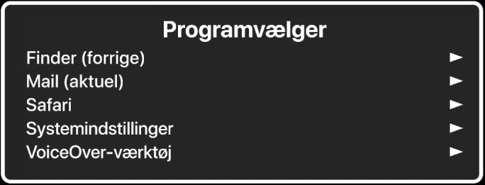 Programvælgeren med fem åbne programmer, herunder Finder og Systemindstillinger. Til højre for hvert emne på listen er en pil.