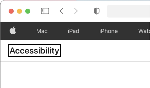 """The VoiceOver cursor—a dark rectangular outline—focused on the word """"Accessibility"""" on screen."""