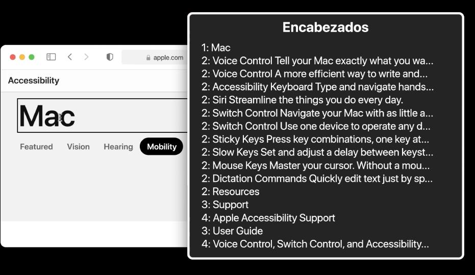Una página web de Safari en el cursor de VoiceOver y el rotor de VoiceOver Rotor seleccionando Encabezados.