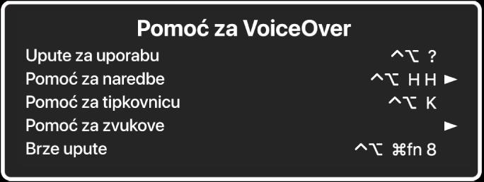 Izbornik Pomoć za VoiceOver je prozor koji odozgo nadolje navodi: Online pomoć, Pomoć za naredbe, Pomoć za tipkovnicu, Pomoć za zvukove, Upute za brzo pokretanje i Upute za početak rada. S desne strane svake stavke nalazi se VoiceOver naredba koja prikazuje stavku, ili strelica za pristup podizborniku.