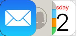 Icônes de Mail, Contacts, Calendrier, Notes et Rappels.