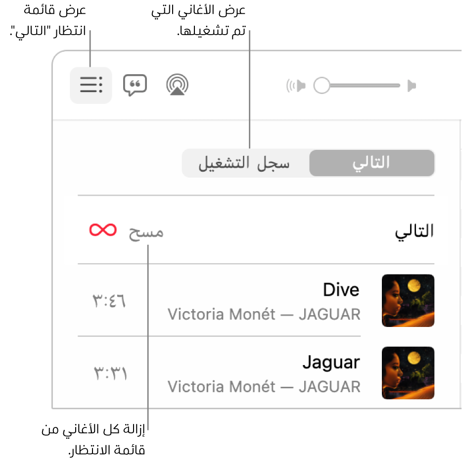 """الزاوية العلوية اليسرى من نافذة تطبيق الموسيقى تتضمن زر التالي في الشعار مع عرض قائمة الانتظار التالي. انقر على رابط سجل التاريخ لرؤية الأغاني التي تم تشغيلها سابقًا. انقر على رابط """"مسح"""" لإزالة كل الأغاني من قائمة الانتظار."""