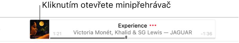 Minipřehrávač otevřete kliknutím na grafiku alba na levé straně banneru