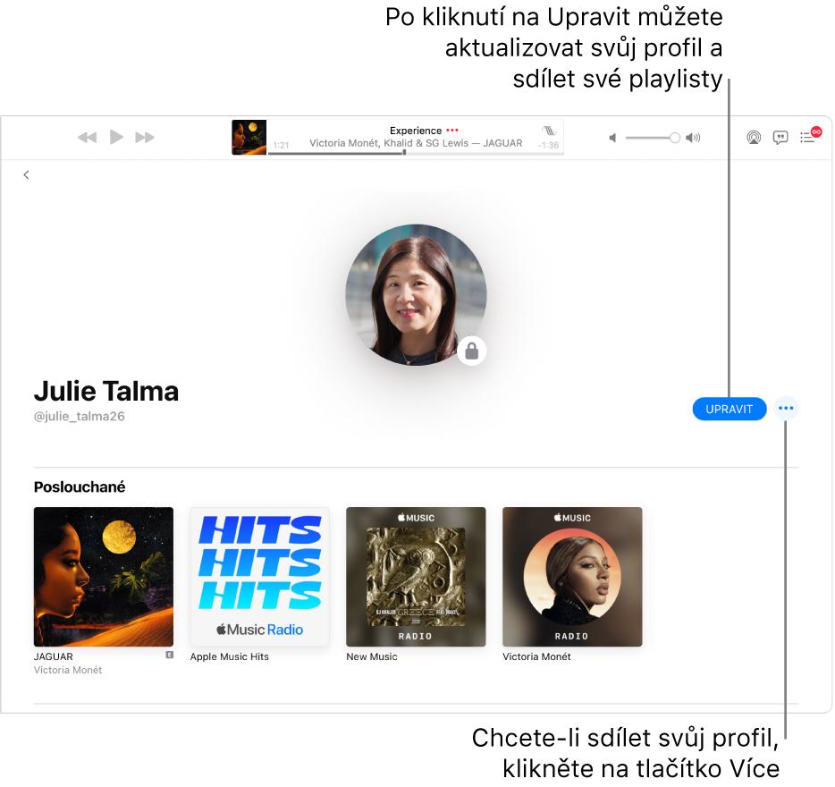 Profilová stránka vApple Music: Na pravé straně okna klikněte na Upravit apak vyberte uživatele, kteří vás mohou sledovat. Chcete‑li svou hudbu sdílet, klikněte napravo upoložky Upravit na tlačítko Více.