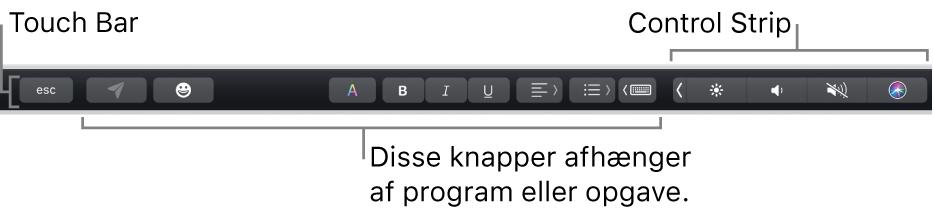 Touch Bar langs toppen af tastaturet med den formindskede Control Strip til højre og knapper, der varierer efter program eller opgave.