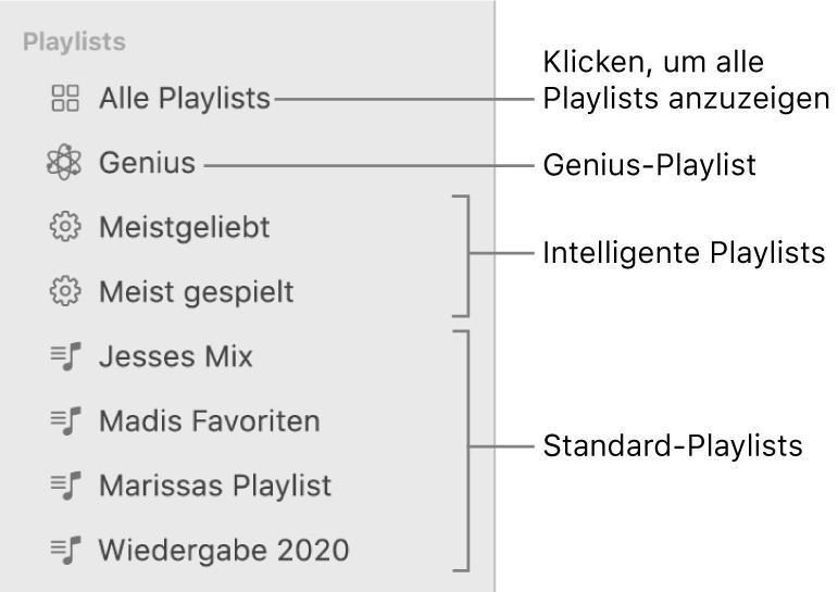 """Die Musik-Seitenleiste mit verschiedenen Typen von Playlists: Genius-Playlists, intelligente Playlists und Standard-Playlists Klicke auf """"Alle Playlists"""", um alle anzuzeigen."""