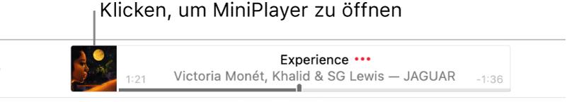 Klicke auf das Albumcover links neben dem Banner, um den MiniPlayer zu öffnen.