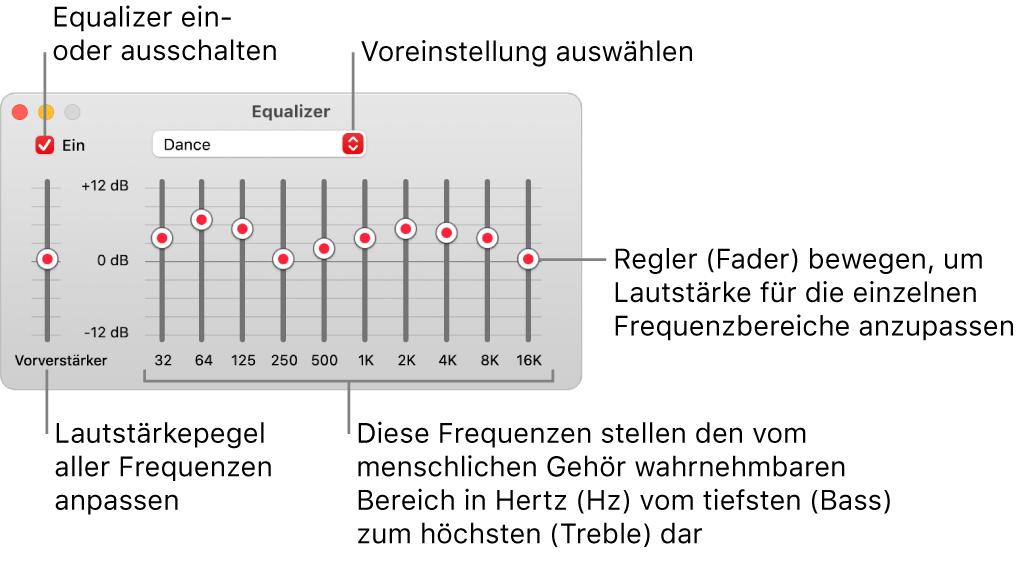 """Das Fenster """"Equalizer"""": Das Markierungsfeld zum Aktivieren des Musik-Equalizers befindet sich oben links. Daneben ist das Einblendmenü mit den Equalizer-Voreinstellungen. Ganz links kannst du die Gesamtlautstärke von Frequenzen mit dem Vorverstärker anpassen. Unter den Equalizer-Voreinstellungen kannst du den Tonpegel der verschiedenen Frequenzbereiche anpassen, die das Spektrum des menschlichen Gehörs vom niedrigsten bis zum höchsten Bereich repräsentieren."""