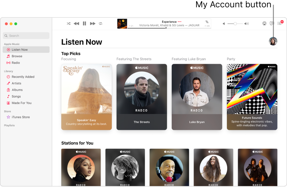 The Apple Music window showing Listen Now. The My Account button (which looks like a photo or monogram) is in the top-right corner of the window.
