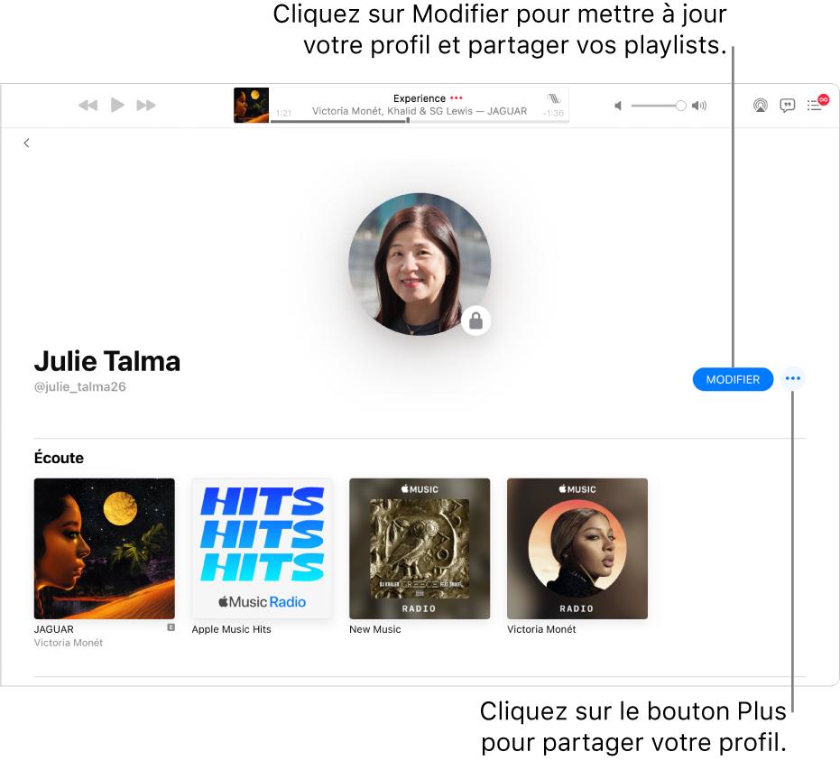 La page de profil dans AppleMusic: Sur le côté droit de la fenêtre, cliquez sur Modifier pour choisir qui peut vous suivre. À droite de Modifier, cliquez sur le bouton Plus pour partager votre musique.