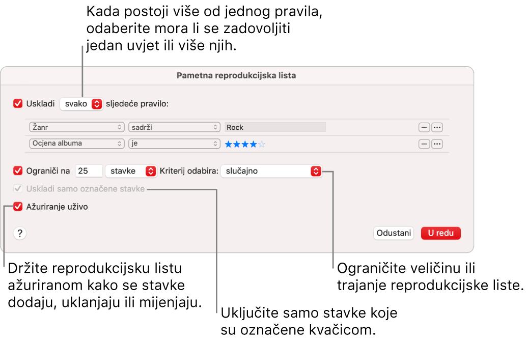 Dijaloški okvir Smart reprodukcijske liste: U gornjem lijevom kutu odaberite Uskladi, zatim odredite kriterije za reprodukcijsku listu (kao što su žanr ili ocjena). Nastavite dodavati ili uklanjati pravila klikom tipke Dodaj ili Ukloni u gornjem desnom kutu. Odaberite različite opcije u donjem dijelu dijaloškog okvira poput ograničavanja veličine ili trajanja popisa za reprodukciju, uključujući samo pjesme koje su označene ili da Glazba ažurira popis za reprodukciju u skladu s promjenom stavki u vašoj medijateci.