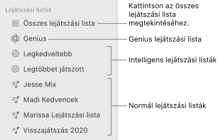 A Zene oldalsávon különböző típusú lejátszási listák láthatók: Genius, Intelligens és általános lejátszási listák. Az összes lejátszási lista megtekintéséhez kattintson az Összes lejátszási lista elemre.