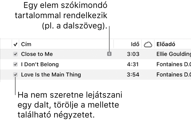 A Dalok nézet részlete a zenék között, bal oldalon a jelölőnégyzetek képével és egy szókimondó szimbólummal az első dal mellett (ezzel jelölve, hogy szókimondó tartalommal, például dalszöveggel rendelkezik). A lejátszás kihagyásához törölje a dal melletti jelölőnégyzet jelölését.