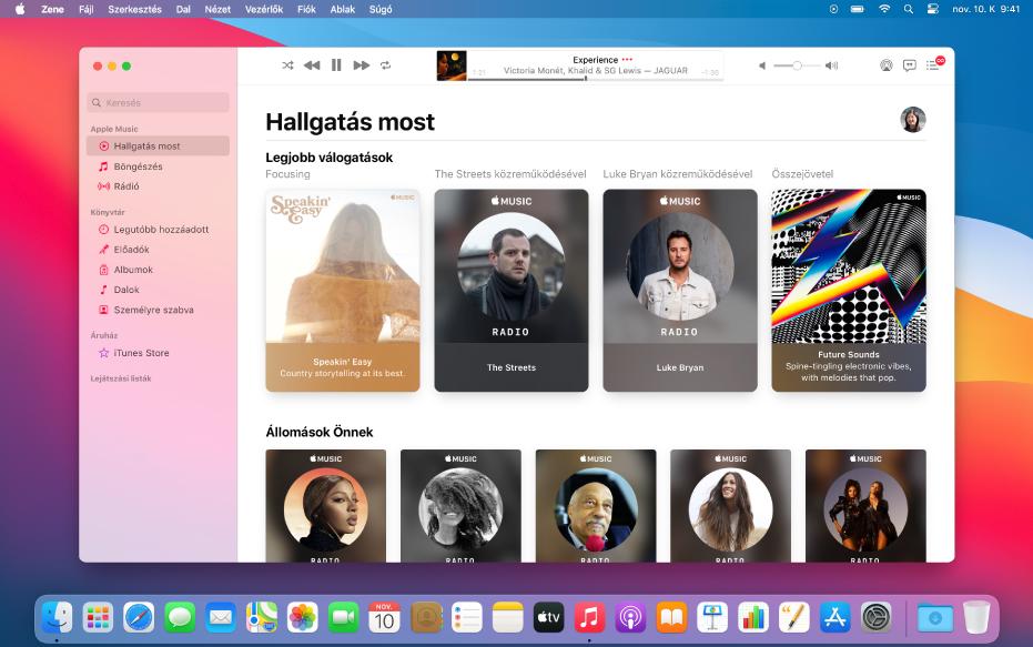 Az Apple Music ablaka a Hallgatás elemmel.