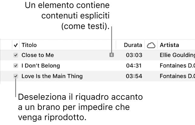 Dettaglio della vista Brani in Musica, con i riquadri a sinistra e un simbolo esplicito per il primo brano (indicante che il brano ha contenuti espliciti ad esempio nel testo). Deseleziona il riquadro accanto a un brano per impedirne la riproduzione.