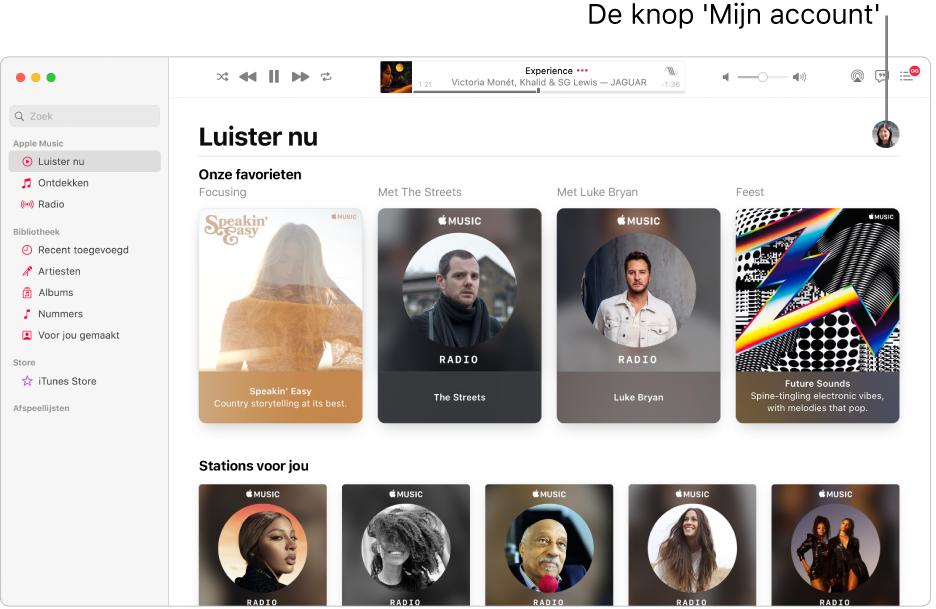 Het Muziek-venster met 'Luister nu' actief. De knop 'Mijn account' bevindt zich rechtsboven in het venster (deze lijkt op een foto of monogram).