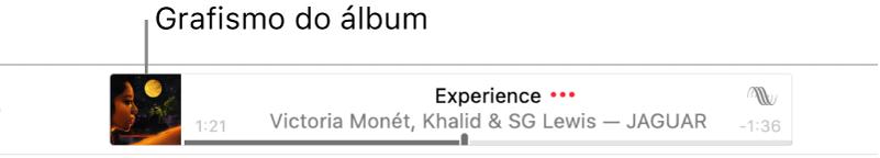 O grafismo do álbum à esquerda da faixa com a música em reprodução.