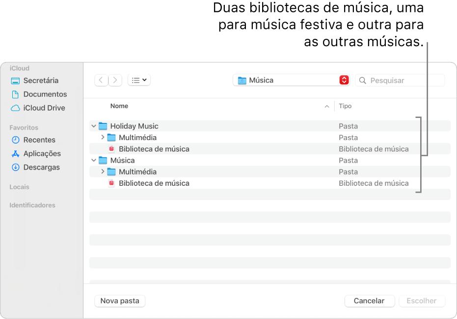 A janela do Finder a mostrar várias bibliotecas, uma para música para férias e outra para as restantes músicas.