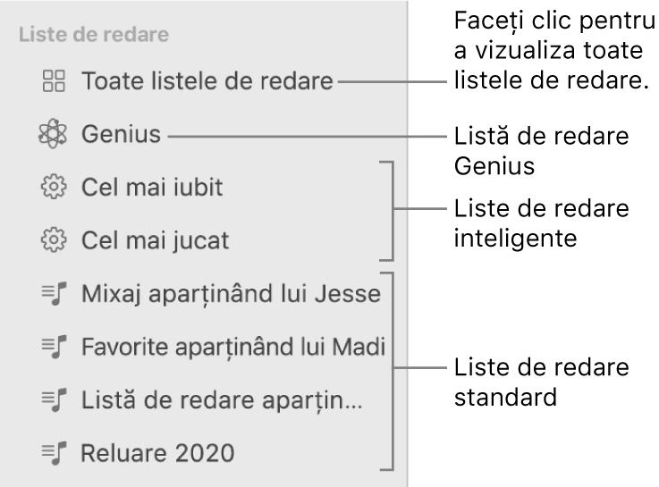 """Bara laterală din Muzică afișând diverse tipuri de liste de redare: liste de redare Genius, inteligente și standard. Faceți clic pe """"Toate listele de redare"""" pentru a le vizualiza pe toate."""