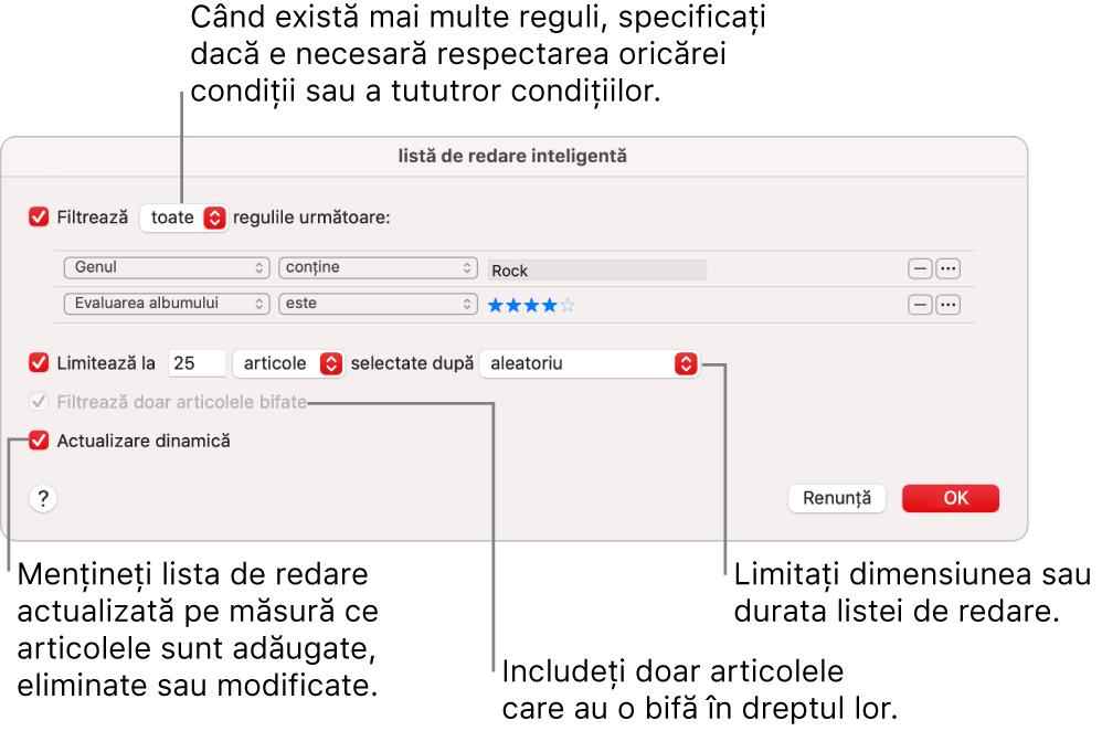 Dialogul Listă de redare inteligentă: În colțul din stânga sus, selectați Filtrează, apoi specificați criteriile listei de redare (cum ar fi genul sau evaluarea). Continuați să adăugați sau să eliminați reguli făcând clic pe butoanele Adaugă sau Elimină din colțul din dreapta sus. Selectați diferite opțiuni în porțiunea inferioară a dialogului, cum ar fi limitarea dimensiunii sau a duratei listei de redare, includerea doar a melodiilor bifate sau configurarea aplicației Muzică astfel încât să actualizeze lista de redare pe măsură ce se modifică articolele din bibliotecă.