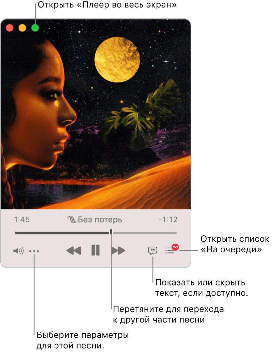 Увеличенное окно мини-плеера с элементами управления песней, которая воспроизводится. Влевом верхнем углу находится зеленая кнопка, которая используется для открытия плеера навесь экран. Внизу окна находится бегунок, перетягиванием которого можно перейти клюбой части песни. Слева под бегунком находится кнопка «Еще», принажатии которой можно изменить настройки просмотра идругие параметры воспроизводимой песни. Управого края под бегунком находятся две кнопки: кнопка текста песни, нажатием которой можно скрыть или показать текст песни при его наличии, икнопка «Наочереди» для просмотра очереди воспроизведения.