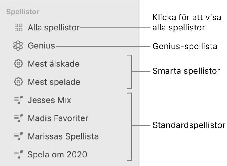 Musik-sidofältet med de olika typerna av spellistor: vanliga spellistor, smarta spellistor och Genius-spellistor. Klicka på Alla spellistor för att visa alla.