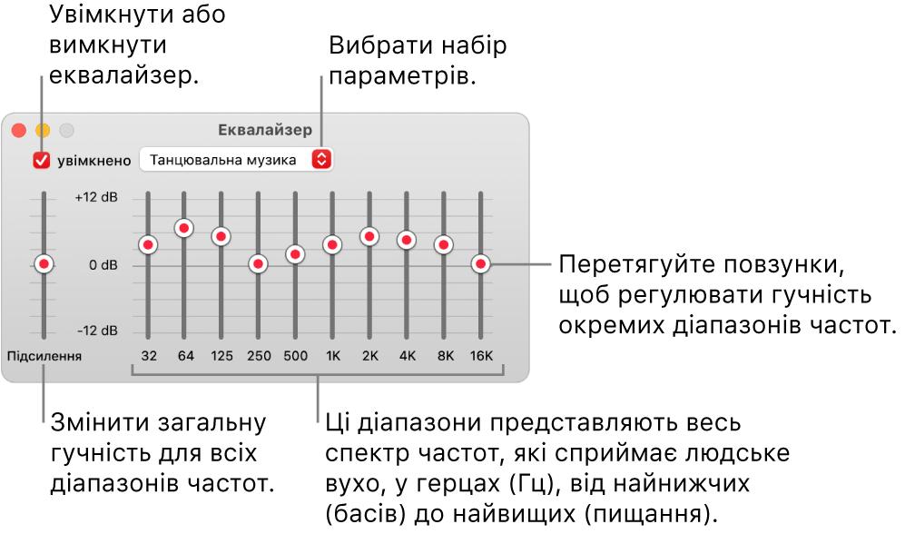 Вікно еквалайзера. Позначка ввімкнення еквалайзера в Музиці розташована у верхньому лівому куті. Поруч із нею розміщено спливне меню із заготовками еквалайзера. На лівому краї можна редагувати загальний рівень гучності частот у попередньому підсилювачі. Під наборами параметрів еквалайзера можна коригувати рівень гучності різних діапазонів частот, що представляють спектр звуків, які здатне розрізнити людське вухо (від найнижчого до найвищого).