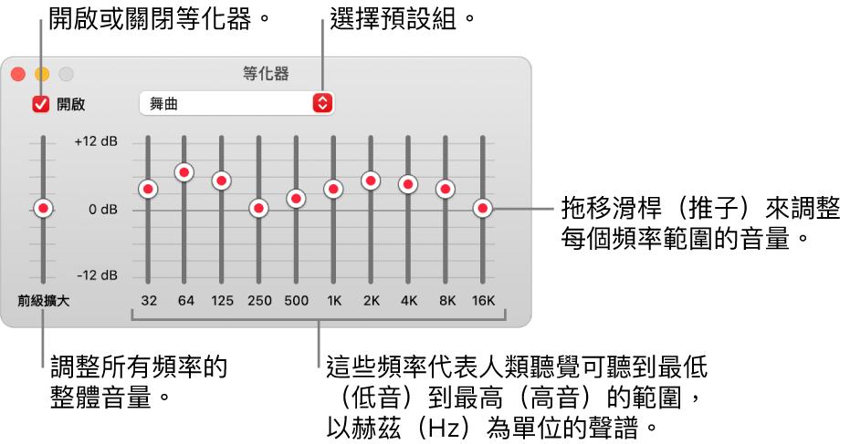 「等化器」視窗:開啟「音樂」等化器的註記框位於左上角。旁邊的彈出式選單帶有等化器預設組。在最左側,使用前級擴大來調整頻率的整體音量。在等化器預設組的下方,調整不同頻率範圍的音量,其代表從最低到最高的人類聽覺頻譜。