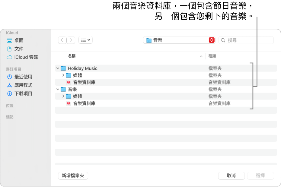 Finder 視窗顯示多個資料庫,一個包含節慶音樂、另一個包含您其餘的音樂。