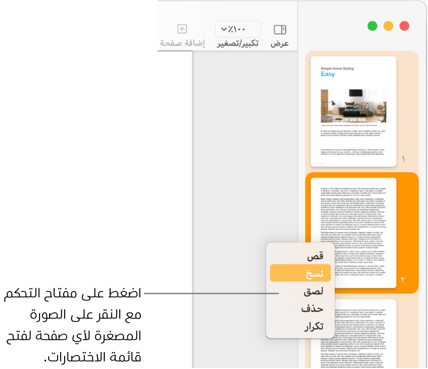عرض الصور المصغرة للصفحات مع صورة مصغرة واحدة محددة وقائمة الاختصارات مفتوحة.