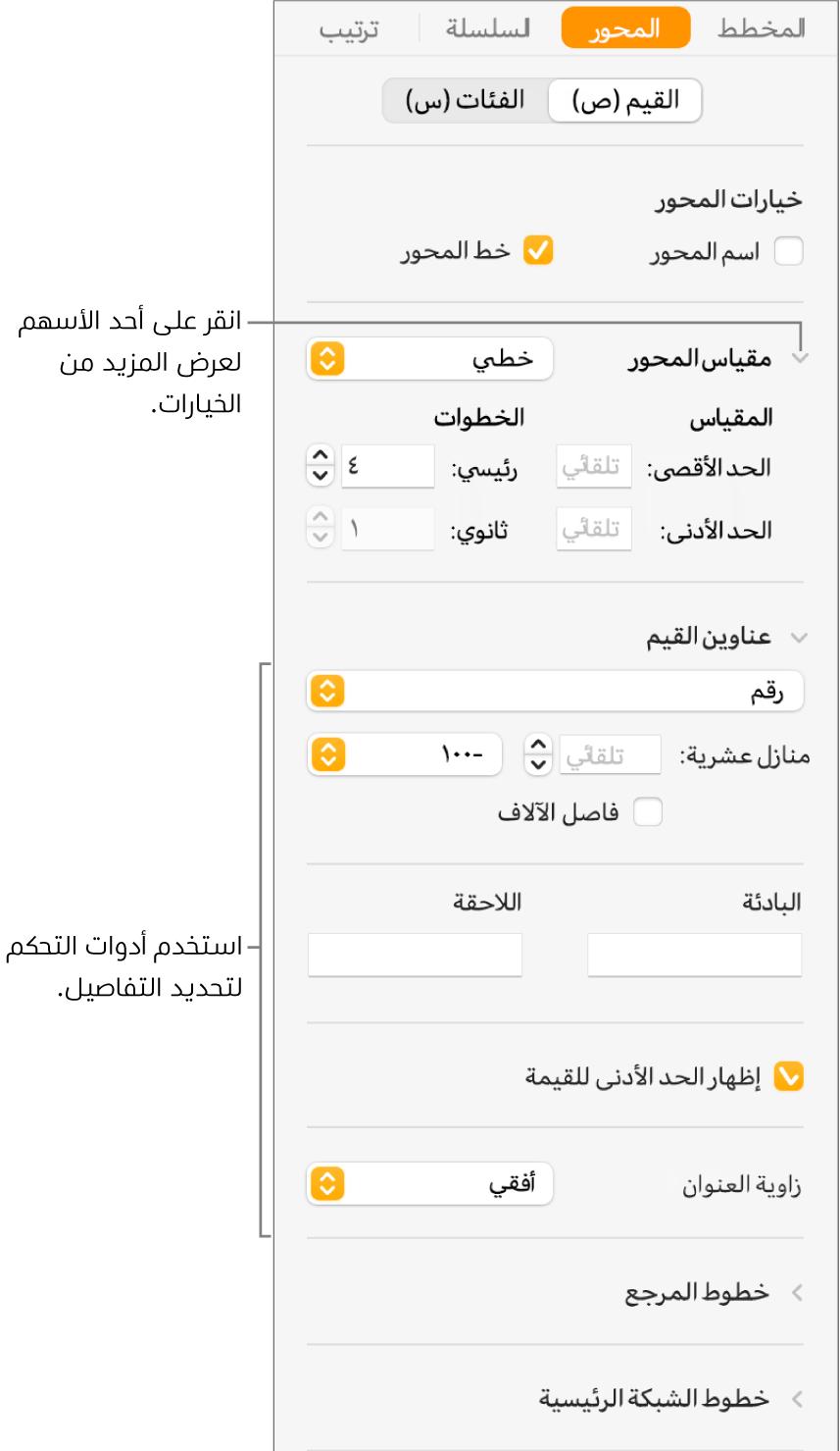 عناصر تحكم لتنسيق علامات محاور المخطط.