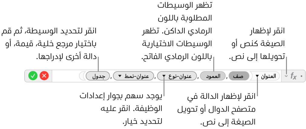 محرر الصيغ وتظهر فيه دالة العنوان ورموز الوسيطة الخاصة بها.