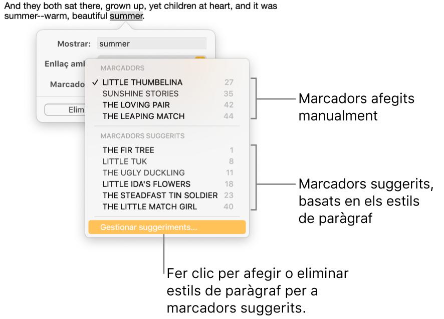 """La llista de marcadors amb els marcadors afegits manualment a la part superior i els marcadors suggerits a la part inferior. L'opció """"Gestionar suggeriments"""" és a la part inferior."""