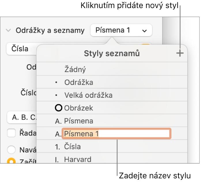 Nabídka Styly seznamů stlačítkem Přidat vpravém horním rohu amaketou názvu stylu svybraným textem